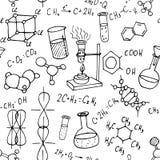 Naadloze achtergrond van chemie de hand getrokken krabbels vector illustratie