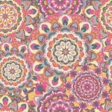 Naadloze achtergrond van cirkel gekleurde mandalas Stock Fotografie