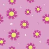 Naadloze achtergrond van eenvoudige roze bloemen Stock Foto's