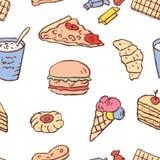 Naadloze achtergrond van het diverse snelle voedsel Royalty-vrije Stock Afbeelding