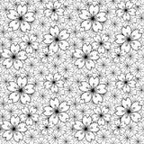 Naadloze achtergrond van het zwarte witte Japanse dwarspatroon van de sakurabloem stock illustratie