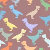 Naadloze achtergrond van kleuren de leuke dinosaurussen Het herhalen van patroon van T royalty-vrije illustratie
