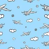 Naadloze achtergrond van krabbel de vliegende vliegtuigen stock afbeelding