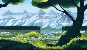 Naadloze achtergrond van landschap met rivier, bos en bergen royalty-vrije illustratie