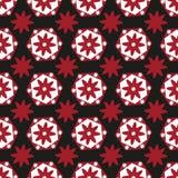 Naadloze achtergrond van rode en witte geometrische bloemen op zwarte vector illustratie