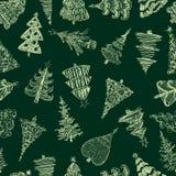 Naadloze achtergrond van schetsen van Kerstmisbomen royalty-vrije illustratie