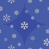Naadloze achtergrond van sneeuwvlok op blauwe toon Stock Foto