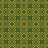 Naadloze achtergrond van uitstekend groen gouden lintkruis Royalty-vrije Stock Fotografie