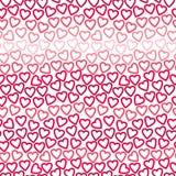Naadloze achtergrond van vele contouren die van rode en roze harten tot een openwork patroon leiden royalty-vrije stock fotografie