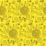 Naadloze achtergrond van zonnebloemen met bladeren. Royalty-vrije Stock Fotografie