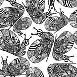 Naadloze achtergrond van zwart-wit slakken Royalty-vrije Stock Foto