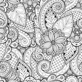 Naadloze achtergrond in vector met krabbels, bloemen en Paisley Stock Foto