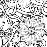 Naadloze achtergrond in vector met krabbels, bloemen en Paisley Stock Fotografie