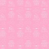 Naadloze achtergrond voor de dag van de valentijnskaart Verpakkend document Geschetste pictogrammen Royalty-vrije Stock Afbeeldingen
