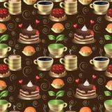 Naadloze Achtergrond Zoete dessert, thee en koffie vector illustratie