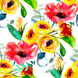 Naadloze achtergrondpatroonpapaver, korenbloemen, lelie, kamille, rozen met bladeren en onzelieveheersbeestje op wit Getrokken ha Royalty-vrije Stock Afbeelding