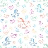 Naadloze babyachtergrond met paard Royalty-vrije Stock Afbeeldingen