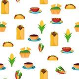 Naadloze backgound met beeldverhaal Mexicaans voedsel Stock Foto