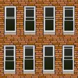 Naadloze bakstenen muur withl vensters, achtergrond. Stock Fotografie
