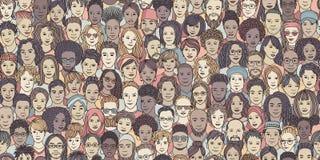 Naadloze banner van diverse hand getrokken gezichten vector illustratie