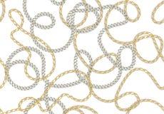 Naadloze Barokke druk met gouden realistische kettingen, riemen voor stoffenontwerp Naadloos vectorpatroon stock illustratie