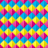 Naadloze Bedekte Cmyk Diamond Shapes Pattern Royalty-vrije Stock Afbeelding