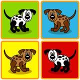 Naadloze beeldverhaalhonden over vierkanten Royalty-vrije Stock Foto's