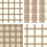 Naadloze beige gecontroleerde patroonreeks Stock Foto's