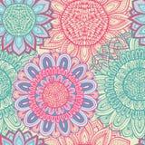 Naadloze blauwe en roze bloemenachtergrond Royalty-vrije Stock Foto
