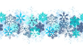 Naadloze blauwe grens met sneeuwvlokken Stock Afbeeldingen