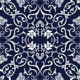 Naadloze Blauwe Japanse Achtergrond Dwars Spiraalvormige Wijnstokbloem Stock Afbeelding