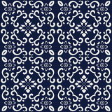 Naadloze Blauwe Japanse Achtergrond Spiraalvormige Dwarskrommebloem Royalty-vrije Stock Foto