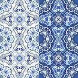 Naadloze blauwe kleuren bloemenpatronen Stock Foto's