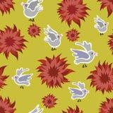 Naadloze bloem en vogels Stock Foto