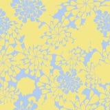 Naadloze bloem gele en blauwe achtergrond Stock Foto's