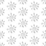Naadloze bloemachtergrond. Zwart-wit. Royalty-vrije Stock Foto