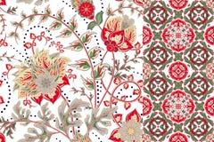 Naadloze bloemen geplaatste patronen Uitstekende bloemenachtergronden en grenzen met verlof Vector ornamenten Royalty-vrije Stock Foto's