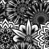 Naadloze bloemenachtergrond De achtergrondpatroon van de Tracery met de hand gemaakt aard met bloemen Decoratief binair art. Vect Stock Foto
