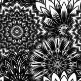 Naadloze bloemenachtergrond De achtergrondpatroon van de Tracery met de hand gemaakt aard met bloemen Decoratief binair art. Vect Stock Afbeeldingen