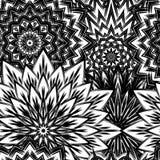 Naadloze bloemenachtergrond De achtergrondpatroon van de Tracery met de hand gemaakt aard met bloemen Decoratief binair art. Vect Royalty-vrije Stock Afbeeldingen
