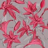 Naadloze bloemenachtergrond met hand getrokken bloemen. Vectoreps10 Royalty-vrije Stock Foto