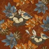 Naadloze bloemenachtergrond met vogel Stock Afbeelding
