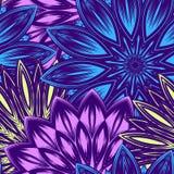Naadloze bloemenachtergrond Patroon van de de stoffenachtergrond van de Tracery het met de hand gemaakte aard etnische met bloeme Stock Fotografie