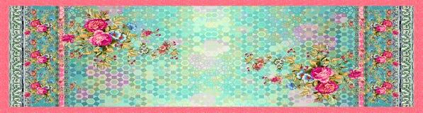 Naadloze bloemenbloem met digitale abstracte achtergrond vector illustratie