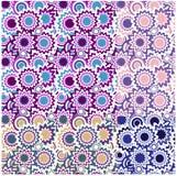naadloze bloemenornamenten met cirkels Stock Afbeeldingen