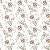 Naadloze bloemenpatroon heldere bloemen op een witte achtergrond Royalty-vrije Stock Foto's