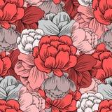 Naadloze bloemenpatroon rode Ranunculus, Trollius-asiaticusbloem, getrokken vector van Globeflower hand nam achtergrond, Kupavka  stock illustratie