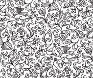 Naadloze Bloemenpatroonachtergrond met Vogels en Bloemen Stock Foto's