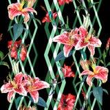 Naadloze bloemenpatroonlelies royalty-vrije illustratie