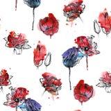 Naadloze bloemenpatroontulpen Stock Foto